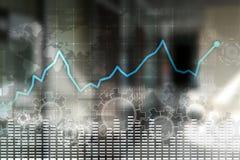 Graf för dataanalys på den faktiska skärmen Affärsfinans och teknologibegrepp royaltyfri illustrationer