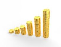 Graf för guld- mynt 3D med den snabba banan Arkivbilder