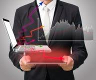 Graf för håll för hand för affärsmananseendeställing på den isolerade minnestavlan Arkivbild