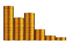 graf för myntguld Arkivfoton