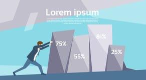 Graf för Push för affärsman som finansiell upp växer framgångtillväxtbegrepp stock illustrationer