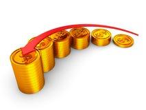 Graf för stång för mynt för finansiellt framgångsbegrepp guld- Royaltyfri Fotografi