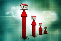 graf för hus 3d och pil Arkivbild