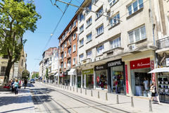 Graf Ignatiev Street in the center of Sofia,Bulgaria. SOFIA,BULGARIA-15.07.16 - Graf Ignatiev Street  is a main  commercial street in the centre of Sofia, which Royalty Free Stock Photography