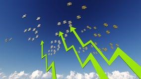 Graf med grönt dollarsymbol Arkivfoto
