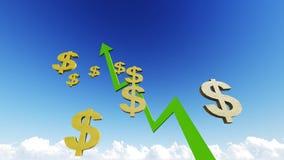 Graf med grönt dollarsymbol Royaltyfria Foton