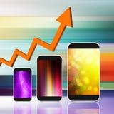 Graf med smartphonen på abstrakt bakgrund, mobiltelefonillust Fotografering för Bildbyråer