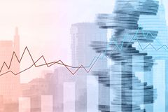 Graf och rader av mynt Begrepp för finansiell investering fotografering för bildbyråer
