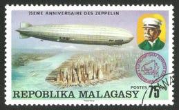 Graf Zeppelin över Amerika arkivbilder