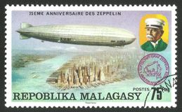 Graf Zeppelin over America. Malagasy Republic  Madagascar  - stamp printed 1976, Multicolor memorable Edition offset printing, Topic Aviation, Series 75 years Stock Images