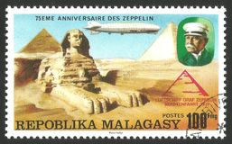 Graf Zeppelin over Egypt. Malagasy Republic  Madagascar  - stamp printed 1976, Multicolor memorable Edition offset printing, Topic Aviation, Series 75 years Royalty Free Stock Images