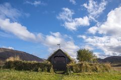 Grafarkirkja Torva-kyrka, nordliga Island 6 Arkivbild