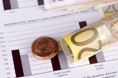 Grafdiagramledning med euro och mynt Royaltyfri Fotografi
