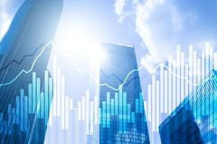 Grafer och diagram för dubbel exponering finansiella Affärs-, nationalekonomi- och investeringbegrepp stock illustrationer