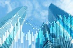 Grafer och diagram för dubbel exponering finansiella Affärs-, nationalekonomi- och investeringbegrepp arkivfoto