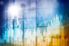 Grafer och diagram för dubbel exponering finansiella Affärs-, nationalekonomi- och investeringbegrepp royaltyfri bild