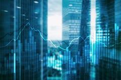 Grafer och diagram för dubbel exponering finansiella Affärs-, nationalekonomi- och investeringbegrepp royaltyfria bilder