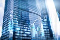 Grafer och diagram för dubbel exponering finansiella Affärs-, nationalekonomi- och investeringbegrepp royaltyfri fotografi