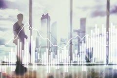 Grafer och diagram för dubbel exponering finansiella Affärs-, nationalekonomi- och investeringbegrepp royaltyfria foton