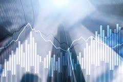 Grafer och diagram f?r dubbel exponering finansiella Aff?rs-, nationalekonomi- och investeringbegrepp royaltyfri illustrationer