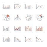 Grafer och diagramsymbolsuppsättning Arkivfoton