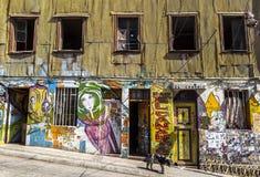 Graffati konster av Valparaiso, Chile Arkivbild
