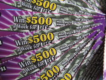 """Graffio fuori dai biglietti di lotteria, U.S.A. di NJ Ð """" Fotografia Stock"""