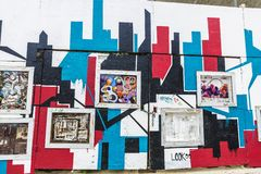 Graffit et illustration dans Harlem, New York City, Etats-Unis images stock