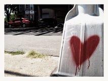 Graffit hjärta av Hoyt Park royaltyfria bilder