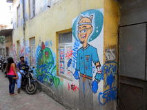 Graffit-Kunst in kleinen Wegen Mumbais, Bandra Stockfotos