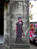 Graffit sztuka w Mumbai małych pasach ruchu, Bandra Zdjęcie Stock