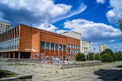 Graffiti à la vieille maison soviétique de la culture Image stock