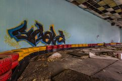 graffiti à la vieille voie de kart image stock