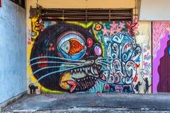 Graffiti †'kota temat Obrazy Stock