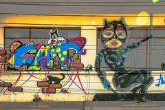 Graffiti †'kota temat Obraz Royalty Free