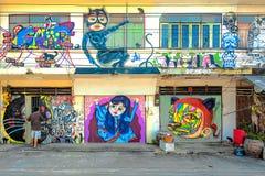 Graffiti †'kota temat Fotografia Royalty Free