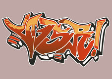 Graffiti. Street Art Graffiti with red and orange colors Royalty Free Stock Photo