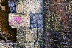 Graffiti. Carved over hundreds of years on the interior of a ruined abbey Royalty Free Stock Photo
