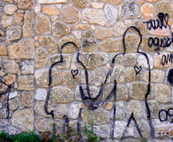 Graffiti. Two figures drawn on a wall Royalty Free Stock Images