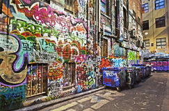Graffiti. Grunge alley covered in graffiti.  Hosier Lane, Melbourne, Australia.  HDR effects Royalty Free Stock Images