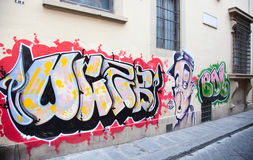 Graffiti. On the wall in downtown Florence, Italy Stock Photography