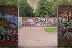 Graffiti. Wallpaintings in a park entrance Stock Photography