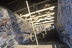 Graffiti on abandoned building hallways, Holyoke, Massachusetts Royalty Free Stock Photos