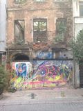 Graffiti. Abandoned building in Istanbul, Turkey Stock Images