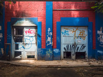 Graffiti on abandoned building walls Stock Photography