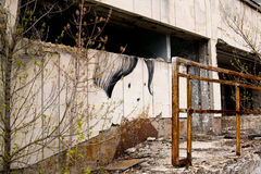 Graffiti on abandoned central square in Pripyat ghost town Stock Photography