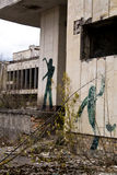 Graffiti on abandoned central square in Pripyat ghost town Royalty Free Stock Photos