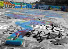 Graffiti in the abandoned Gaffey Street public pool in San Pedro, California stock image