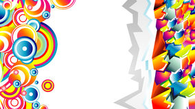 Graffiti abstract card. Colorful 3D style graffiti and circles background Royalty Free Stock Photography