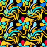 Graffiti abstract flowers on a black background seamless pattern Royalty Free Stock Photos